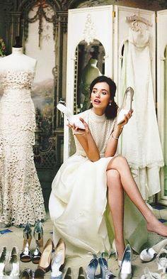 Elegant Lady with Ivory Shoes