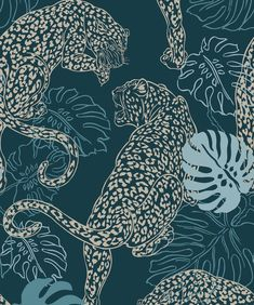 Sample Leopard Wallpaper in Cobalt from the Kingdom Home Collection by Milton & King Wallpaper Art Deco, Tier Wallpaper, Home Wallpaper, Wallpaper Roll, Designer Wallpaper, Leopard Wallpaper, Monkey Wallpaper, Animal Wallpaper, Leopard Tapete