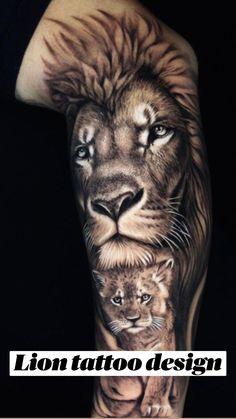 Lion Tattoo Design, Flower Tattoo Designs, Tattoo Designs Men, Lion Tattoo With Flowers, Butterfly Tattoos On Arm, Half Sleeve Tattoos Drawings, Tattoo Sketches, Tiger Tattoo, Arm Tattoo