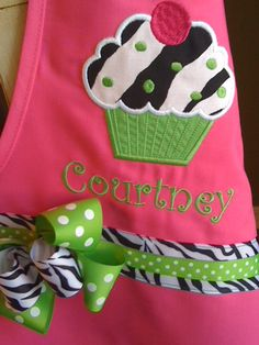 Kylie will love it!!!!    Zebra Cupcake on Pink Apron by BabyPaige on Etsy, $16.99