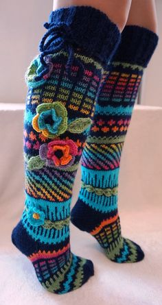 Items similar to hand knit wool socks, knee high socks, hand knitted socks, flower knee high … Knitting Socks, Hand Knitting, Knitting Patterns, Woolen Socks, Rainbow Socks, Crochet Slippers, Knit Crochet, Patterned Socks, Knee High Socks