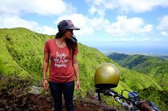 Riding & Rambling up mauka this Aloha Friday. @alohashhley in our new LWLH script tee. #adventurewithLWLH #luckywelivehawaii #alohafriday