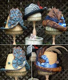 Lynn McMaster's sample hats for her pattern.  I snagged the copper and purple straw on the right.  Excellent research behind the reproductions.