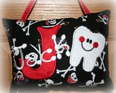 Boys Tooth Fairy Pillow  Skulls  Pirates  by SandDStitches on Etsy, $22.00