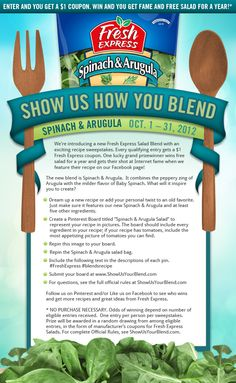Submit your entry at www.ShowUsYourBlend.com  See an example board and all the pins you need to get started. http://pinterest.com/freshexpress/show-us-how-you-blend-sweepstakes/ #FreshExpress #blendsrecipe