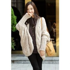 Cheap Wholesale Fashion Cable Knit Long Sleeves Open Front Women's Winter Cardigan (BEIGE,ONE SIZE) At Price 14.22 - DressLily.com