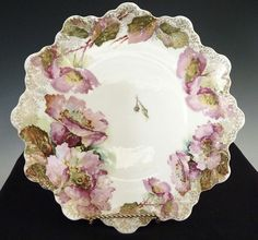 Victorian Dinner Plate Pink Poppies Malmaison by Rosenthal, Manufactured between 1902 - 1906