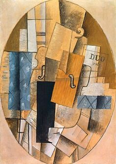 "Georges Braque, Still Life with Violin, 1913, oil on canvas and paper, 36 1/2"" x 26"", Los Angeles County Museum, Los Angeles, Photo by C Leavitt, Flickr, Creative Commons Attribution License."