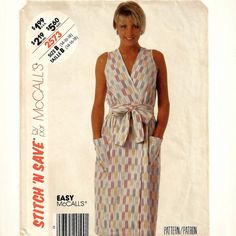 A Sleeveless, Side Patch Pockets, Belted, Front Wrap Dress Pattern