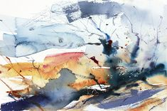 Winter Elm Gatley Hill. Movement and light, back runs, dry brush and wet into wet. Expressive semi abstract watercolour by Adrian Homersham http://adrianhomersham.co.uk/