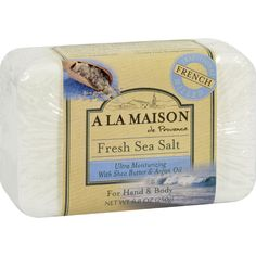 A La Maison Bar Soap - Fresh Sea Salt - 8.8 oz - A La Maison is a unique line of traditional French milled liquid soap and bar soap for hand and body which contains 100% vegetable oils, cruelty free, no SLS, Paraben or Phthalates.Ingredients: Palm and/or Coconut Oil,Vegetable Glycerin, Shea Butter, Argan Oil, Natural Mineral Pigments and/or Sea Salt, Plant Extracts and/or essential oils. Organic: NA Gluten Free: No Dairy Free: No Yeast Free: No Wheat Free: No Vegan: No Kosher: No GMO Free…