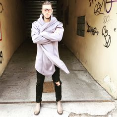 Cardigan with quilted pattern and huge scarf in front with a hoodRelaxed fit and keep heavy weight PES Cotton Neutral, Normcore, Fresh, Mens Fashion, Model, Cotton, How To Wear, Style, Man Fashion