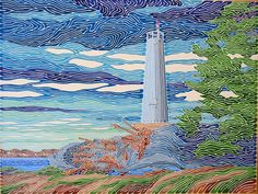 """Geoff Slater (New Brunswick, Canada) makes quite beautiful one-line paintings. He says: """"Fundamentally and spiritually, the line represents a certain connectedness - a thread that ties objects and individuals together. Water, trees, land and man-made structures are all linked together... Although the line changes colour, it never touches, or crosses itself"""""""