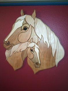 Horse & Foal Wood Intarsia Arts by the Kickapoo