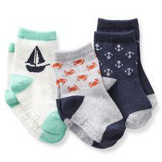 3-Pack Nautical Crew Socks