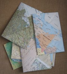 homemade envelopes from maps, but you could use any print