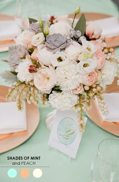 blush and mint wedding flowers on table with just a hint of gold, mariage, fleurs, decoration Blush Centerpiece, Floral Centerpieces, Wedding Centerpieces, Wedding Bouquets, Wedding Decorations, Centrepieces, Wedding Desserts, Decor Wedding, Table Centerpieces