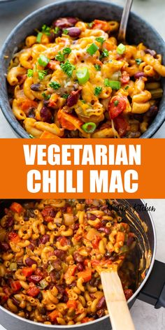 Cheesy, comforting and healthy, this One Pot Vegetarian Chili Mac is the best! This quick and easy chili mac and cheese is a 30 minute meal made with pasta, beans, tomatoes, vegetables and cheese. The whole family will love this dinner! #chilimac #vegetarianrecipes #pastarecipes Vegetarian Chili Mac Recipe, Quick Vegetarian Dinner, Quick Vegetarian Meals, Veggie Dinner, Quick Dinner Recipes, Quick Chili Recipe, Healthy One Pot Meals, Easy One Pot Meals, Quick Easy Meals