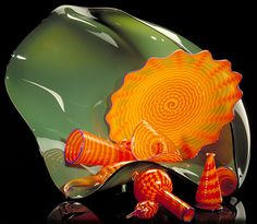 dale chihuly  chrome green and orange persian set, 1988  ORANGE PERSIAN SET, 1988 - blown glass - sculpture