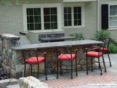 new jersey outdoor kitchen and dining patio Backyard Patio, Backyard Ideas, Outdoor Sinks, Design A Space, Built In Grill, Bbq Area, Cozy Nook, Stone Slab, Outdoor Living Areas