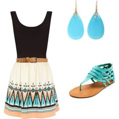 #Dress, turquoise sandals  fashion teen #2dayslook #new style #teenfashion  www.2dayslook.com