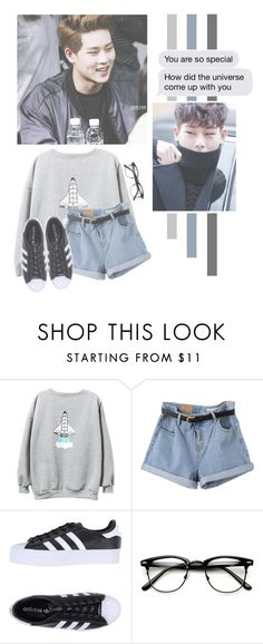 """""""Lee Jooheon"""" by lazy-alien ❤ liked on Polyvore featuring WithChic, adidas Originals, Jooheon, monstax and LeeJooheon"""