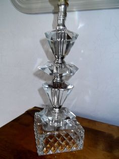 """Stunning Vintage Heavy Prism Cut Crystal Glass Table Lamp 13 1 2"""" Tall   eBay"""