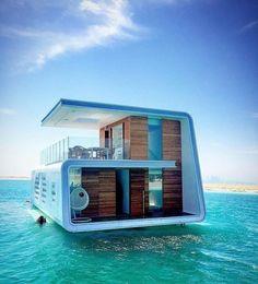 The Floating Seahorse Signature Edition Dubai (Dubai Seahorse Villas) – Mawjuud Floating Architecture, Amazing Architecture, Architecture Design, Villa, Design Exterior, Water House, Floating House, Cabana, Luxury Homes