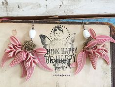 gardenPartyupcycled charm earrings dangle earrings pink by Arey