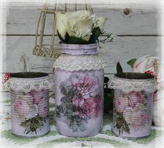 A set of 3 Vintage Shabby Chic Painted Decor Decoupage Mason Jars, Lace Trim   Home & Garden, Home Décor, Boxes, Jars & Tins   eBay!
