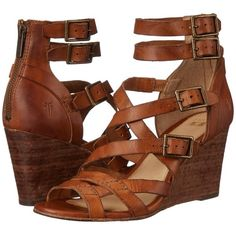 Frye Rain Strappy Wedge Women's Wedge Shoes ($348) ❤ liked on Polyvore featuring shoes, sandals, wedges, heels, leather strap sandals, frye sandals, strap sandals, gladiator sandals and wedge sandals