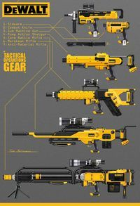 DeWalt Guns, Tom McDowell on ArtStation at Sci Fi Weapons, Weapon Concept Art, Fantasy Weapons, Weapons Guns, Guns And Ammo, Dewalt Tools, Future Weapons, By Any Means Necessary, Shuriken