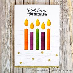 Lisa Johnson Designs Birthday Greetings stamp set and Birthday Candles and Stitched Strip Die-namics - Gemma C. #mftstamps