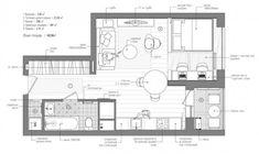 Cozy Studio Apartment, Studio Apartment Floor Plans, Studio Floor Plans, Small Studio Apartments, Apartment Projects, Apartment Plans, Apartment Interior Design, Design Interior, Apartment Checklist