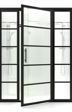 Gridscape Swing Shower Door with 2 Side Panels in Black with Trench Pattern Glass Custom Shower Doors, Coastal Shower Doors, Framed Shower Door, Frameless Sliding Shower Doors, Metal Grid, Residential Interior Design, Types Of Doors, Traditional Kitchen, Modern Industrial