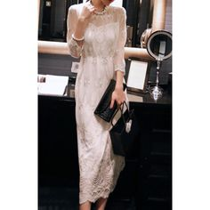 Trendy Style Round Collar Embroidery Voile Splicing 3/4 Sleeve Women's Maxidress