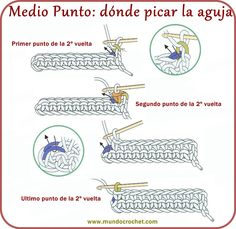 Medio Punto o Punto Bajo - Mundo Crochet - Teresa Restegui http://www.pinterest.com/teretegui/ ✔