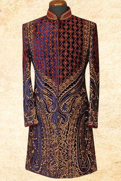 Midnight blue aristocratic velvet sherwani with Sherwani For Men Wedding, Wedding Dresses Men Indian, Mens Sherwani, Sherwani Groom, Wedding Dress Men, Wedding Men, Punjabi Wedding, Indian Weddings, Wedding Outfits