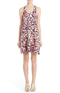 MSGM Scoop Neck Leopard Print Silk Dress available at #Nordstrom