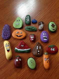 Painting rocks into fruit and vegetables...great way to teach healthy eating by playing with your food! www.facebook.com/TaylorMadeDesignsTracyTaylor