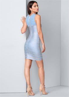 Back View Bandage Metallic Dress Formal Dress Shops, Formal Dresses, Metallic Dress, Venus, Party Dress, Bodycon Dress, Unique, Casual, Blue