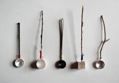 This week I sent off sets of work to the Kath Libbert Jewellery Gallery in England to take part in the upcoming exhibition The Mighty Metalsmith. Kath has invited a number of metal workers to take… Metal Work Table, Ceramic Spoons, Wooden Spoons, Spoon Art, Metal Bowl, Found Art, Silver Spoons, Messing, Decorative Objects