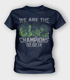 Women's Navy Short Sleeve, Perfect Fit Crew. That's right 12s, the Championship win belongs to Seattle!  Congratulations on an amazing season. #richardsherman #seattle #seahawks #12thman #12s #2014champions #superbowl