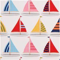 white maritime sailing boat fabric Michael Miller