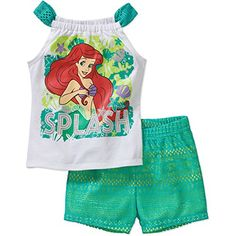 020eec21a973 Little Mermaid Baby Toddler Girls' Graphic Crochet Detail Tank and Shorts  Outfit Set, Size: 25 Months, Green