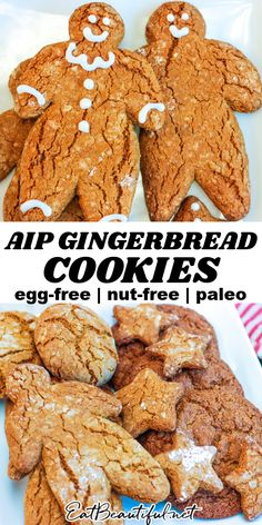 Nut Free Cookies, Gluten Free Gingerbread Cookies, Paleo Cookies, Ginger Cookies, Holiday Cookie Recipes, Holiday Cookies, Christmas Recipes, Paleo Dessert, Dessert Recipes