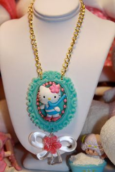 Hello Kitty Necklace Sweet Cameo Scuba Diver Kitty Tropical Kawaii girl