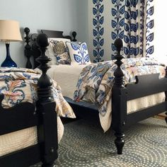 Hues of blue create a bold and beautiful eclectic bedroom. Quincy bed