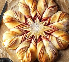 Christmas Star Twisted Bread Recipe -This gorgeous sweet bread swirled with jam may look tricky, but it's not. The best part is opening the oven to find this star-shaped beauty in all its glory. —Darlene Brenden, Salem, Oregon Christmas Star Holiday Bread, Christmas Bread, Christmas Cooking, Holiday Baking, Christmas Star, Christmas Breakfast, Green Christmas, Christmas Brunch, Xmas Food