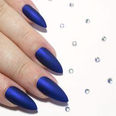 Royal Blue Matte Shimmer - Stiletto -  - Sarah's Sparkles Nails - 1